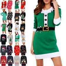 Womens Ladies Xmas Elf Costume Christmas Knit Jumper Mini Dress Plus Size 8-22