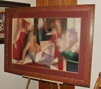 "GHOLAM YUNESSI ""FIGURATIVES"" Large Original Signed Acrylic Modernist & Framed"