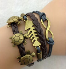 Fashion Leather Turtle Fish Charm Bracelet Jewelry Silver US SELLER
