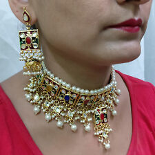 Multi White Cz Kundan Pearl 3pcs Gold Bollywood Chik Choker Necklace Set 512sale