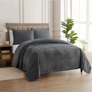 Sweet Home Collection Velvet Quilt & Pillow Sham Set