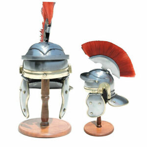 Imperial Italic Roman Officer Helmet Armor Costume with Detachable Plume + Stand