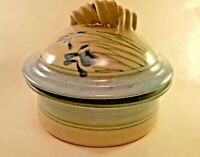 Stoneware Pottery Crock Signed with Lid Decorated with Iris Flower Inside
