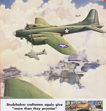 1943 WWII Ad ~ STUDEBAKER Flying Fortress with devastating bombing power