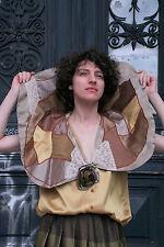 Damen Bluse Handarbeit Patchwork Satin erdtöne True VINTAGE women's blouse 90s