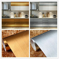 2/6m Stainless Steel Brushed Contact Paper Self Adhesive Vinyl Film Wallpaper
