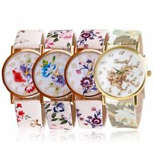 Geneva Women Gold Flower Dial Leather Bracelet Watches Quartz Analog Wrist Watch