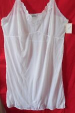 WHITE VINTAGE CAMISOLE NIGHTGOWN SLIP ADJUSTABLE NYLON LACE SIZE 54