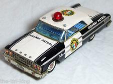 SCARCE TIN PLATE ASC JAPAN FORD GALAXIE POLICE HIGHWAY PATROL CAR C1950S