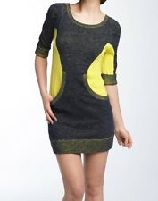 Womens L marc by marc jacobs darby dress Stretchy Knit Yellow Gray Pockets $228