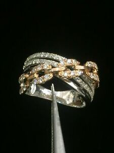 Pave 0.74 Cts Round Brilliant Cut Diamonds Anniversary Band Ring In 585 14K Gold