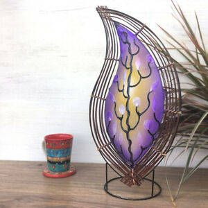 Fair Trade Lavender Blue Wavy Leaf Lamp With Capiz Shell Hand Crafted