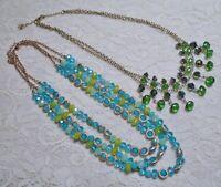 MULTI STRAND AQUA BLUE & GREEN GLASS BEADED GOLD TONE NECKLACE LOT