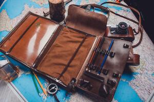 Soviet Red Army USSR military officer leather map bag case tablet planshet