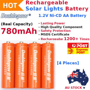 Rechargeable Solar Lights Battery 1.2V Ni-CD AA 780mAh 1200+ Recharge Cycles AU