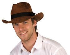 New Mens Brown Adventure Hat Cowboy Wild West Fancy Dress