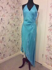 Evening Party Cocktail Turquoise Blue Halter Neck Dress 14-16
