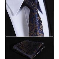 Mens Dark Navy Blue & Gold Brown Floral Silk Ties Necktie Wedding Free Hanky