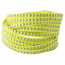 NEW Neon Yellow Imitation Leather Sliced Stud Wrap Cuff Bracelet Festival Party