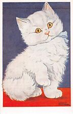 Cat postcard Cute fluffy white kitten artist signed Arnold Tilgmann