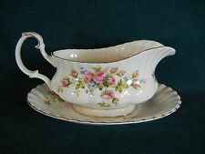 Royal Albert Moss Rose Montrose Shape Gravy Boat with Separate Under Plate