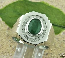 2.65 ct 14k Solid White Gold Mens Men's Diamond & Emerald Ring made in USA