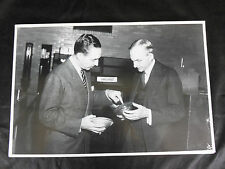 """12 By 18"""" Black & White Picture - Portrait of Henry & Edsel Ford with headlights"""
