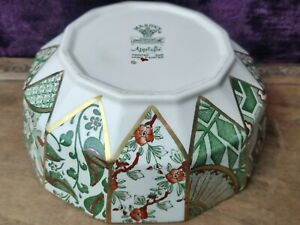 "Vintage Masons Applique Hand Painted Octagonal Bowl - Green 7"" Diameter VGC"