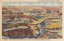 AS IS Postcard A596 Fred Harvey Colorado River Mohave Point Grand Canyon Rim AZ