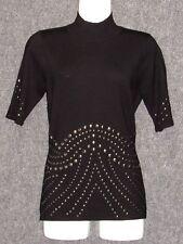 ALBERTO MAKALI Black Stud Embellishment Knit Pullover Sweater SZ S NEW