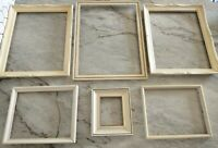 Vintage Off white Wood PICTURE FRAME Lot  Recycle Art Crafts Deco Farmhouse set