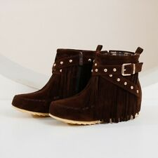 Women's Moccasin Boots Buckle Flat Suede Fringed Ankle Booties Winter Warm Shoes