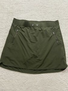 Athleta M Green Metro Skort Skirt Mini Zip Pockets Active *missing Draw Sting*