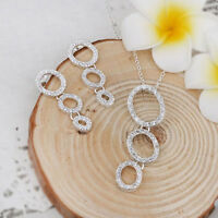 Three Loop Crystal Pendant Necklace and Earrings Set 925 Sterling Silver NEW