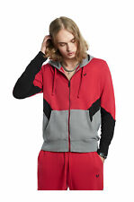 True Religion Men's Chevron Panel Zip-Up Hoodie Sweatshirt in Red/Black/Charcoal