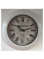 Hamilton runde Metall Wanduhr weiß Landhausuhr Uhr 43 cm Vintage Retro 51904