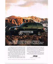 1986 Jeep Grand Cherokee Black Rocky Mountains Vtg Print Ad
