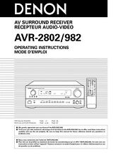 Denon AVR-982 AVR-2802 Receiver Owners Manual