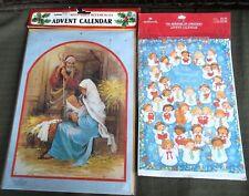 2 Advent Calendars Large Greeting Cards Sealed w Envelopes Manger Angel Choir