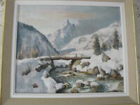 tableau de A. ABRATE, paysage de montagne