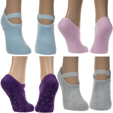 DG Hill 4 Pairs Mary Jane Slipper Socks For Women, Non Skid Anti Slip Fuzzy Aloe