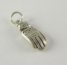 Ski Glove Charm Pendant .925 Sterling Silver USA Made Winter Snowboarding Mitten
