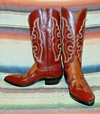 Mens Vintage Lucchese Brown Leather Inlay Cowboy Boots 9 D Excellent Condition