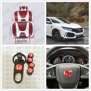 RACING SET Red H Emblem Front Rear Steering Wheel Fit 2006-15 HONDA CIVIC SEDAN