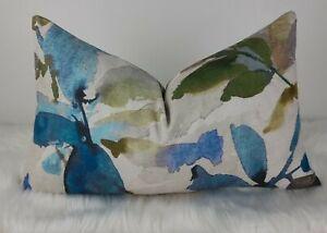 """12""""x20"""" Cushion Cover Watercolour ALEXA (Azzuro) Fabric Aqua  Lagoon Watercolour"""