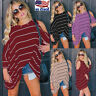 Women Cut Out Cold Shoulder Batwing Long Sleeve Tunic Tops Stripe Blouse T Shirt