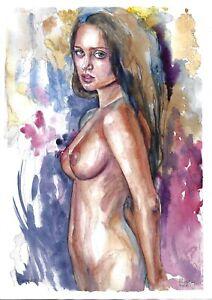 original drawing A3 262DO art samovar modern female nude watercolor signed 2021