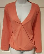 COOPER & ELLA TOP BLOUSE WRAP PINK CORAL SMALL WOMEN'S DESIGNER