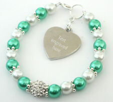 Mother of Bride/Groom Wedding Bracelet With Personalised Engraved Charm Gift