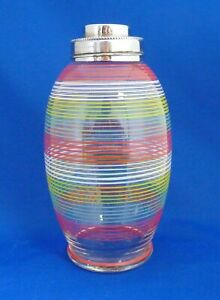 Vintage Glass Mid Century Cocktail Shaker Striped